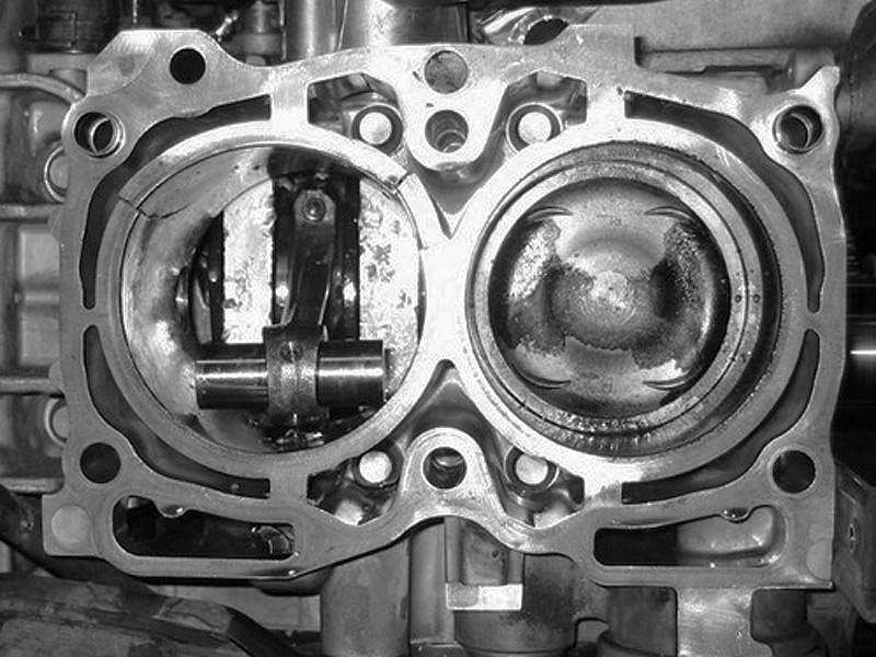 Damaged SUBARU engine block