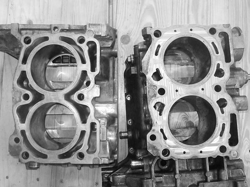 Semi closed SUBARU engine block before and after closing